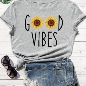 tee shirt femme good vibes