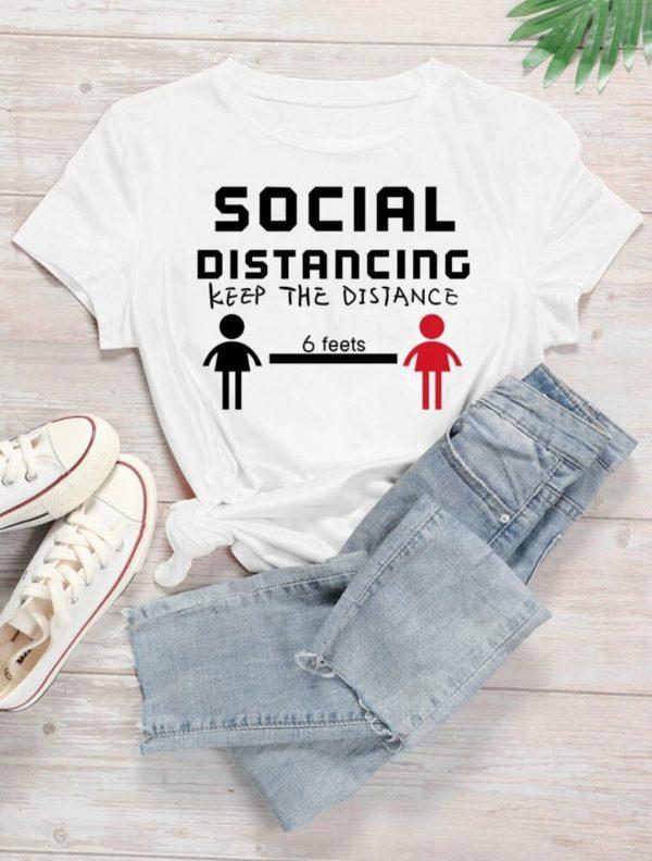 t shirt femme social distance