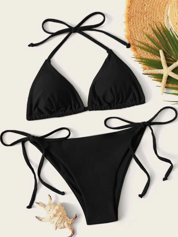 bikini noir tie side swimsuit
