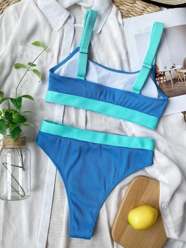 bikini rib color taille haute
