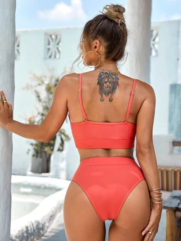 bikini swimsuit plain redwood