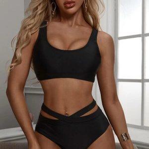 bikini taille haute dos croisé